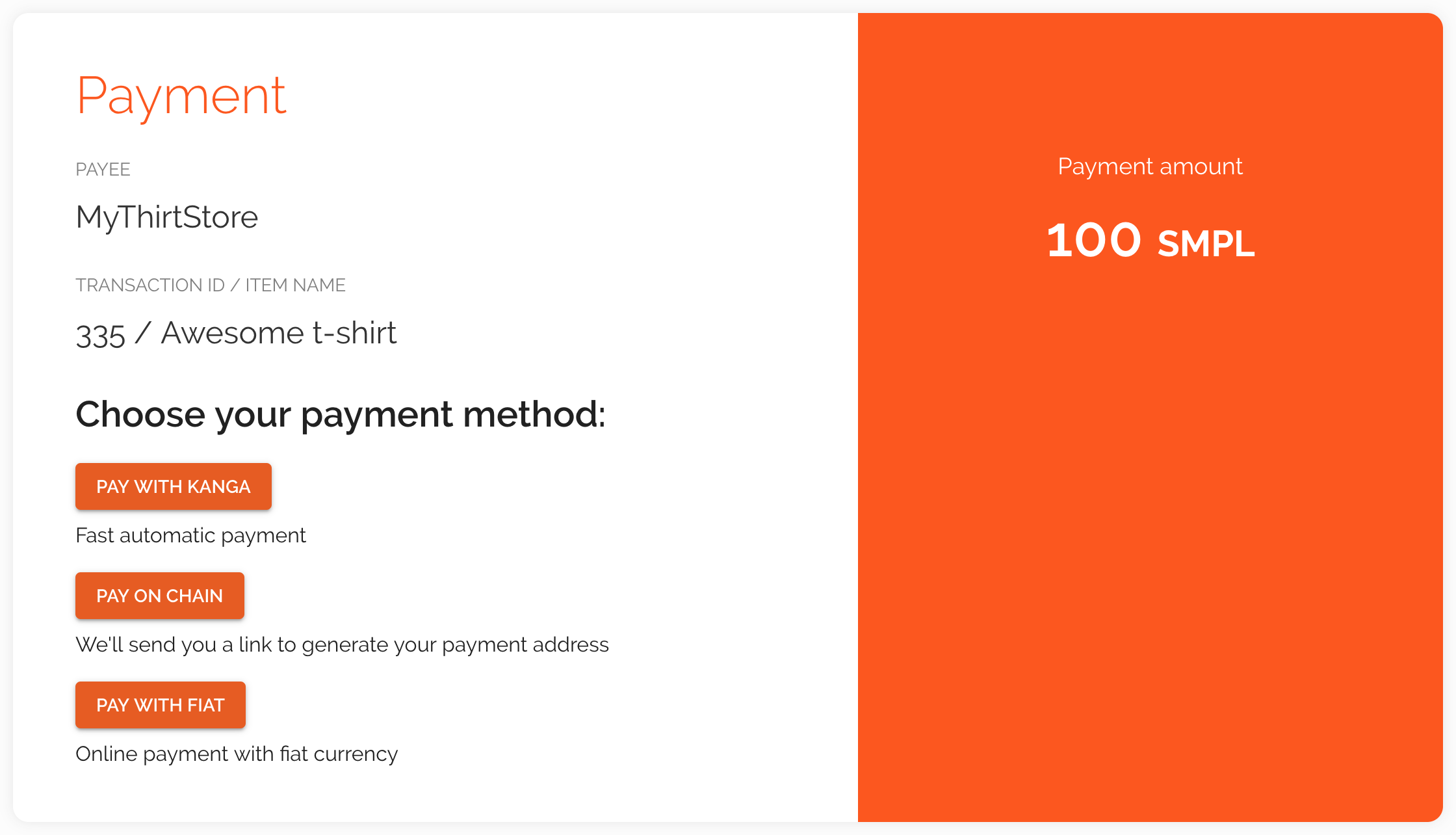 TPG payment method selection